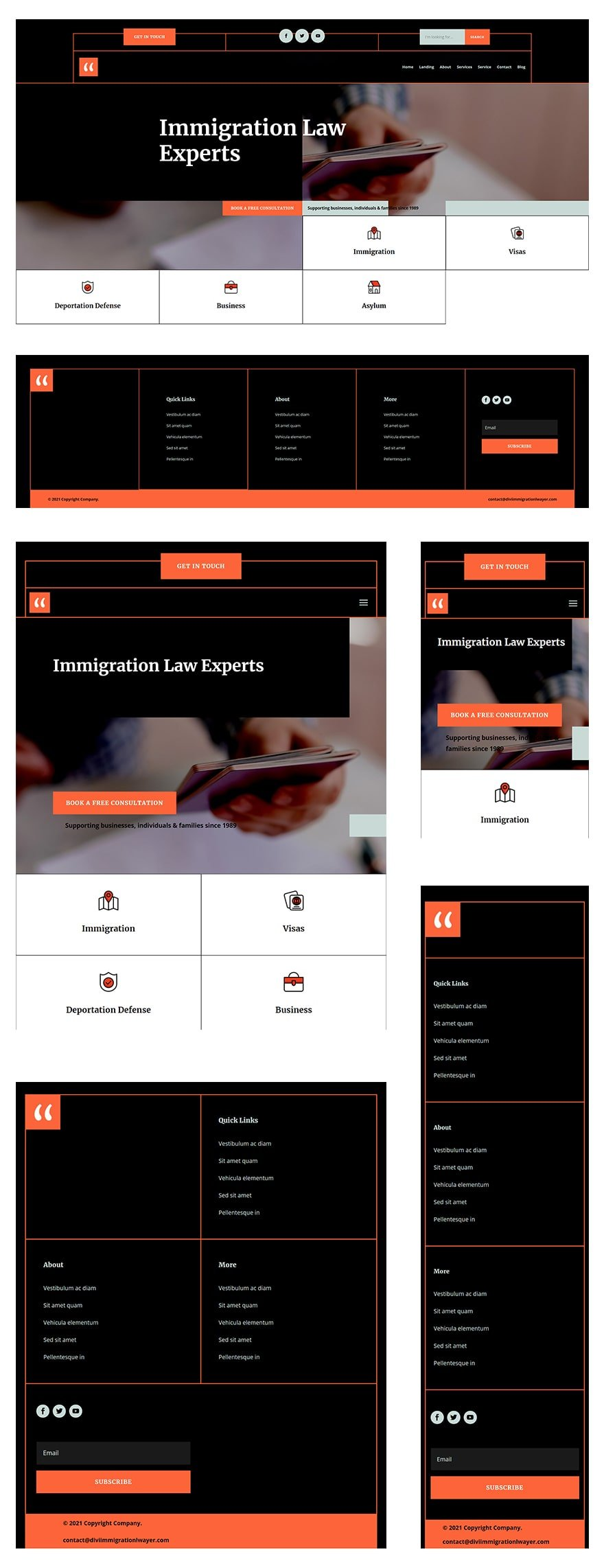 immigration lawyer header footer