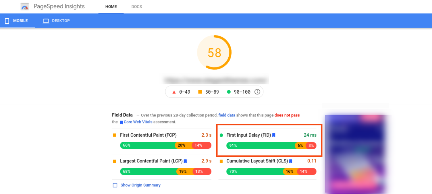 A Google PageSpeed Insights report.