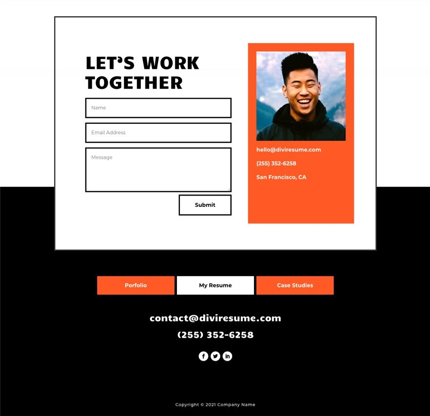 Header and Footer Template for Divi's Creative CV Layout Pack