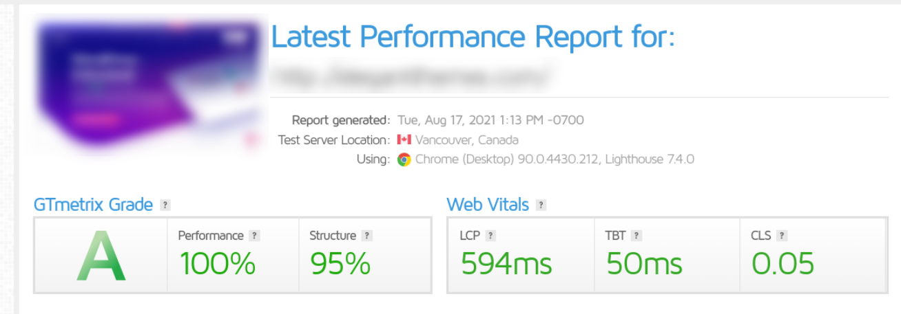 A GTmetrix performance report.