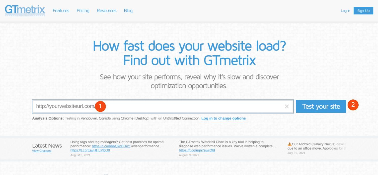 The GTmetrix website.
