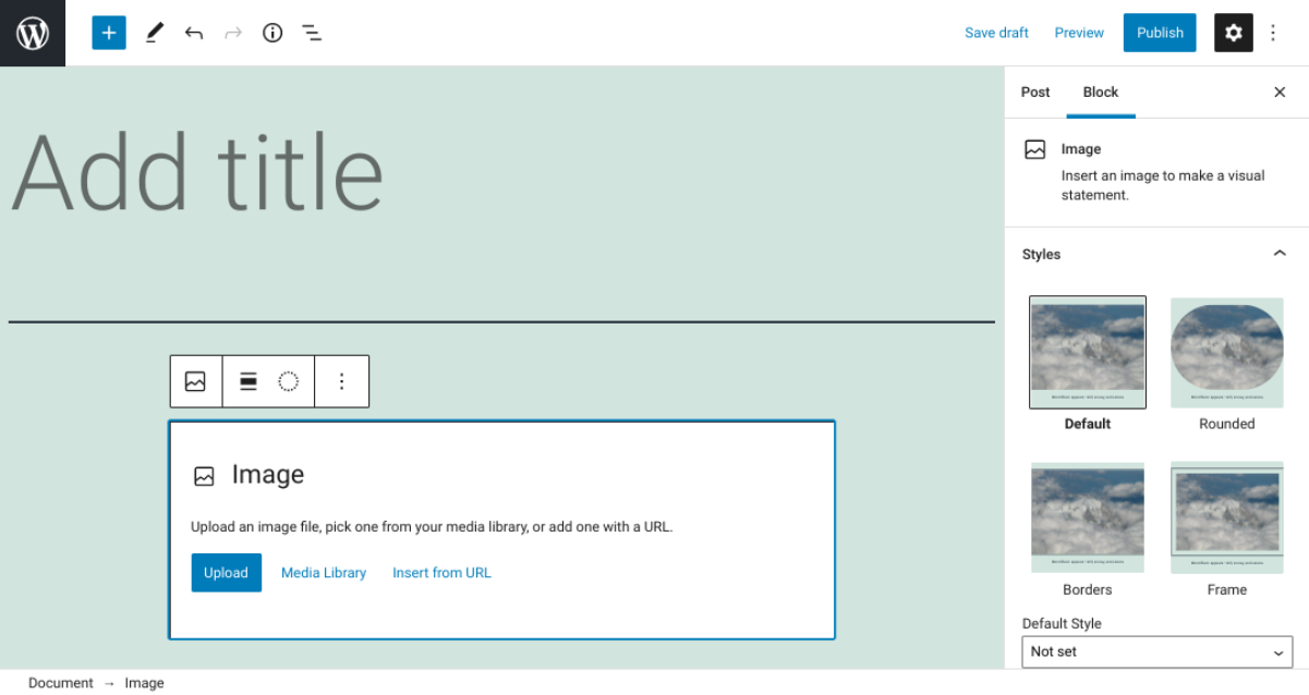 The options to insert a WordPress image via Image block.