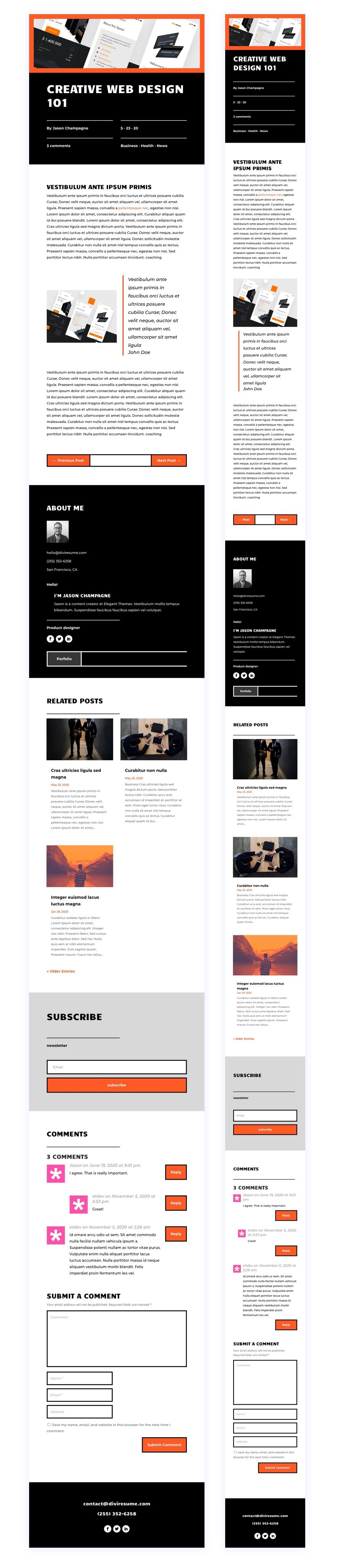 blog post template for Divi's Creative CV Layout Pack