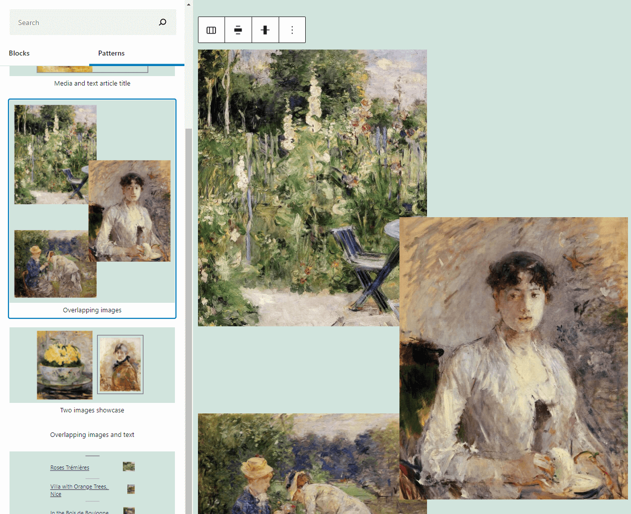 Overlapping columns with images