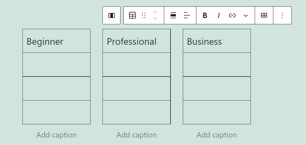A formatting menu for tables