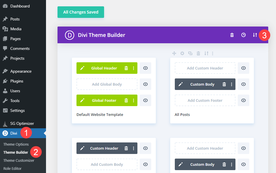 theme builder for the divi search field
