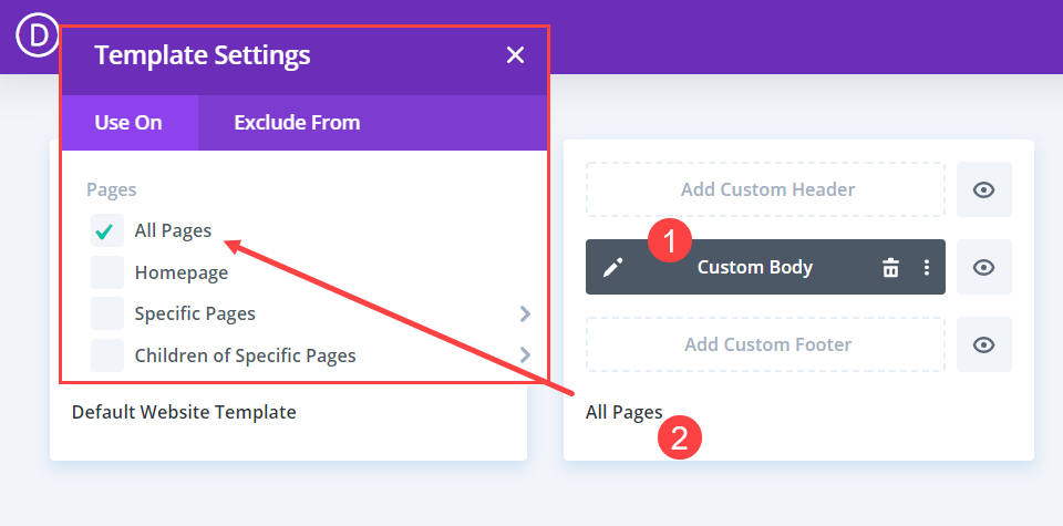 adding a template to exclude a post or page