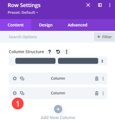 row and column settings to change image on hover