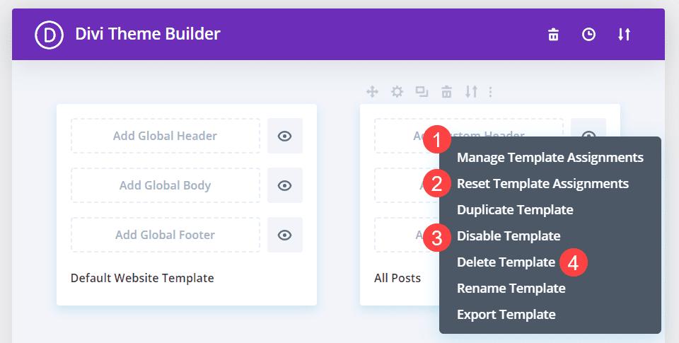 template context menu