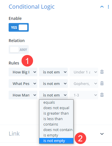 conditional logic for followups in the contact form