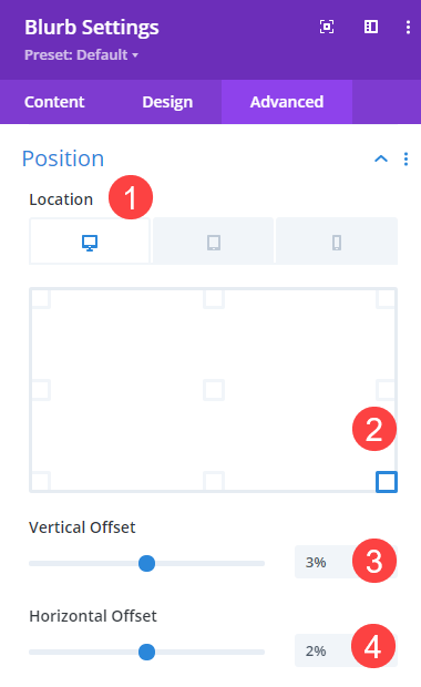 location options for floating about card offset