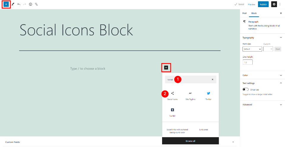 How to Add the Social Icons Block to your Post or Page