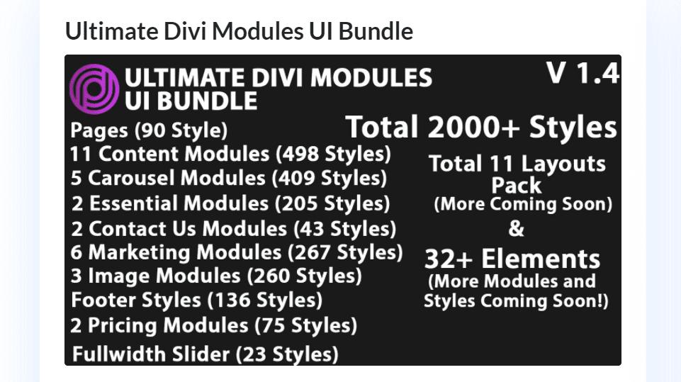 Purchase Ultimate Divi Modules UI Bundle