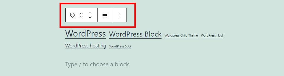 Tag Cloud Block Toolbar