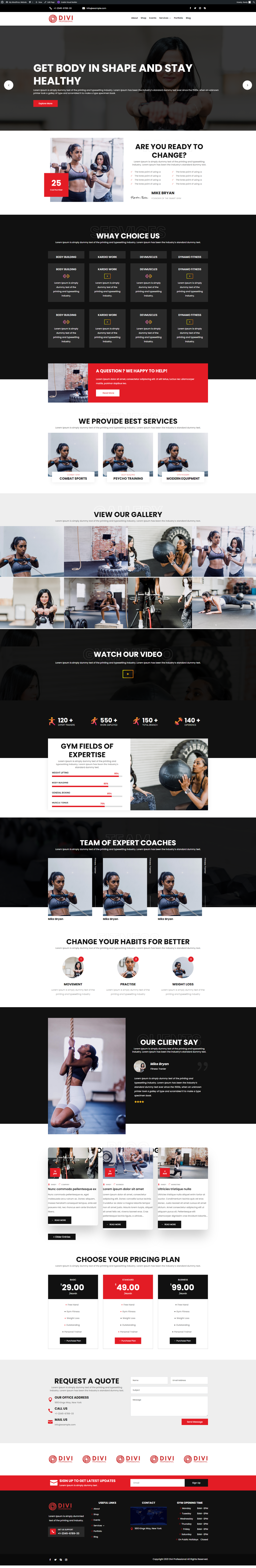 Ultimate Divi Modules UI Bundle Fitness and Gym