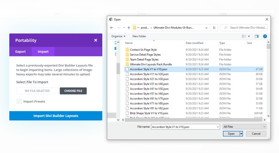 Uploading Ultimate Divi Modules UI Bundle Layouts
