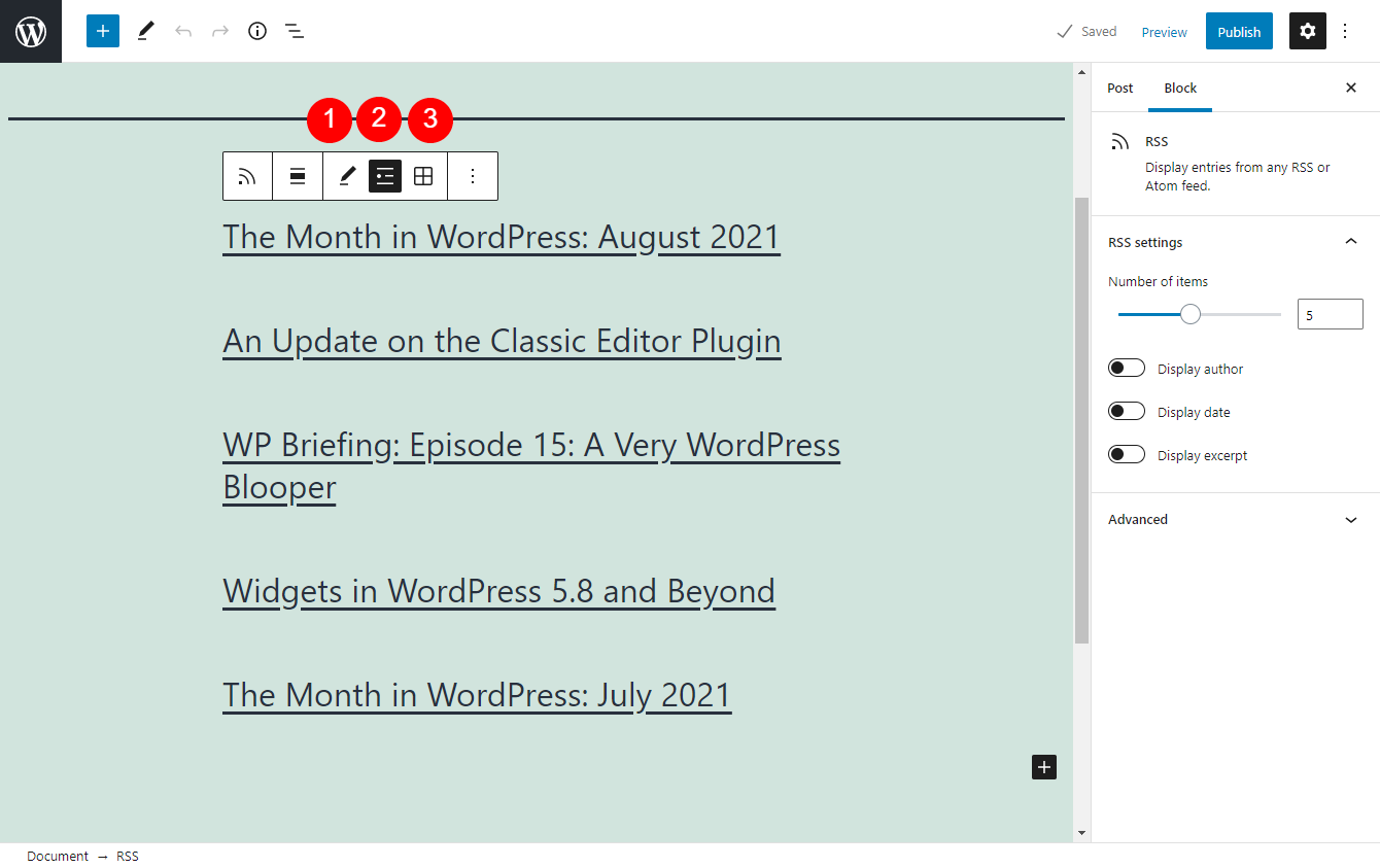 Additional RSS settings.