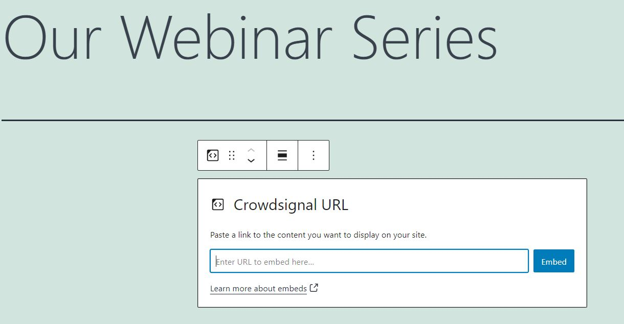The Crowdsignal embed block in a blog post