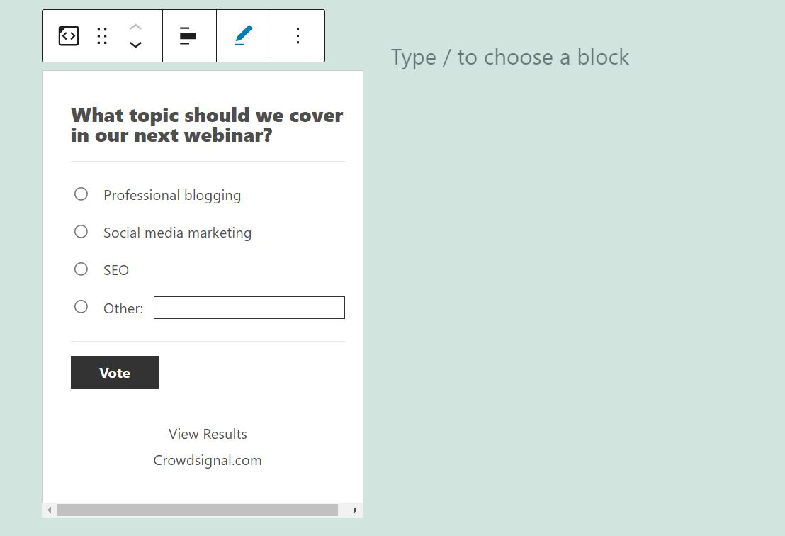 Editing the link of the poll in the Crowdsignal embed block