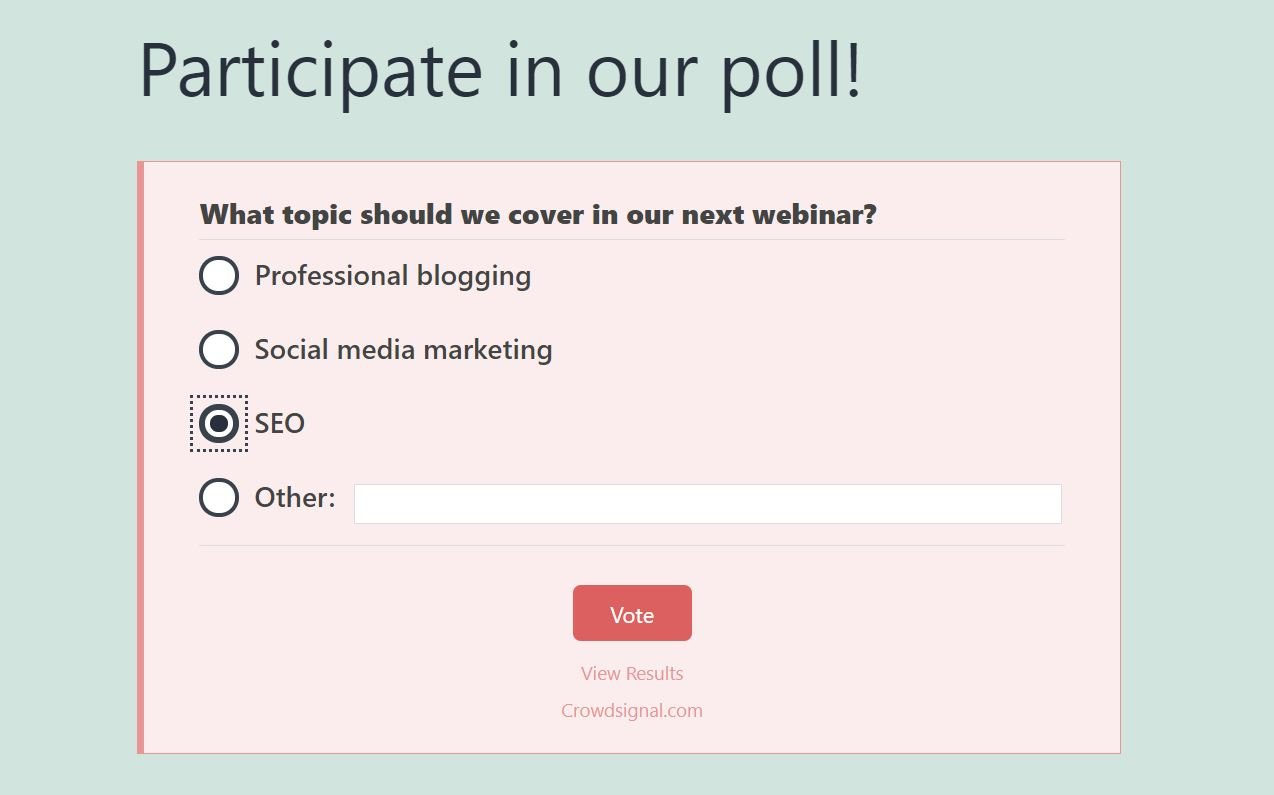 Example of a poll with a CTA