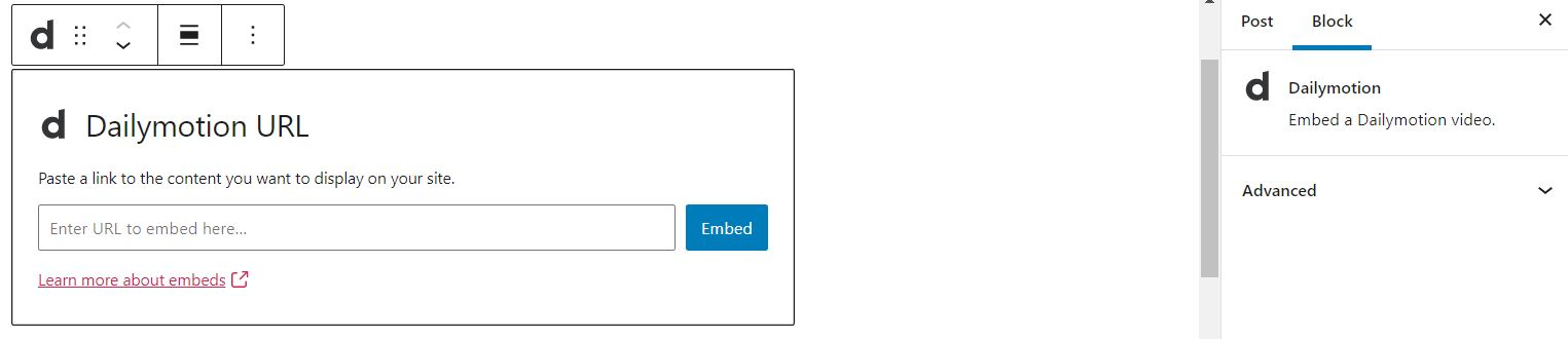 The Dailymotion Embed block.