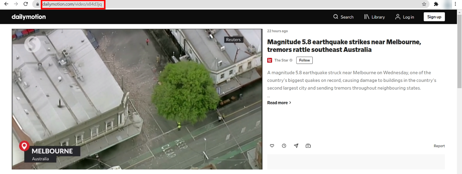 A Dailymotion video URL.