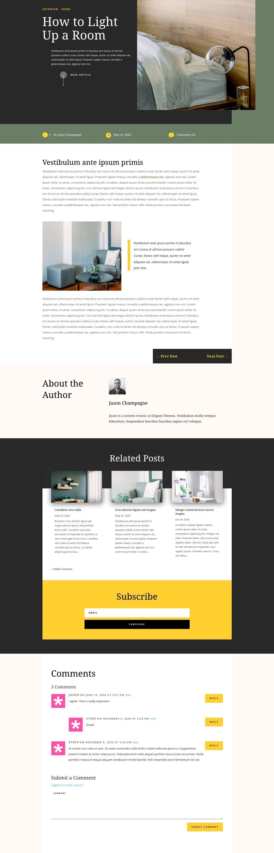 divi home staging blog post template