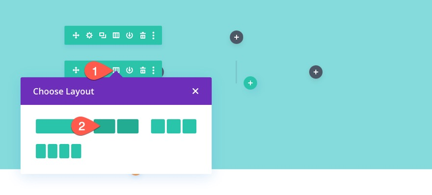 divi responsive image grid layout with CTAs and hover overlays
