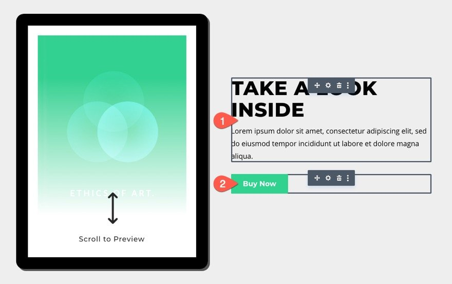 divi tablet with scrollable teaser content