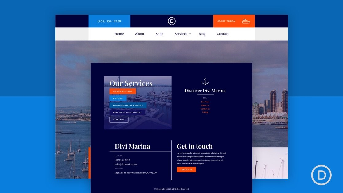 Download a FREE Header and Footer Template for Divi's Marina Layout Pack