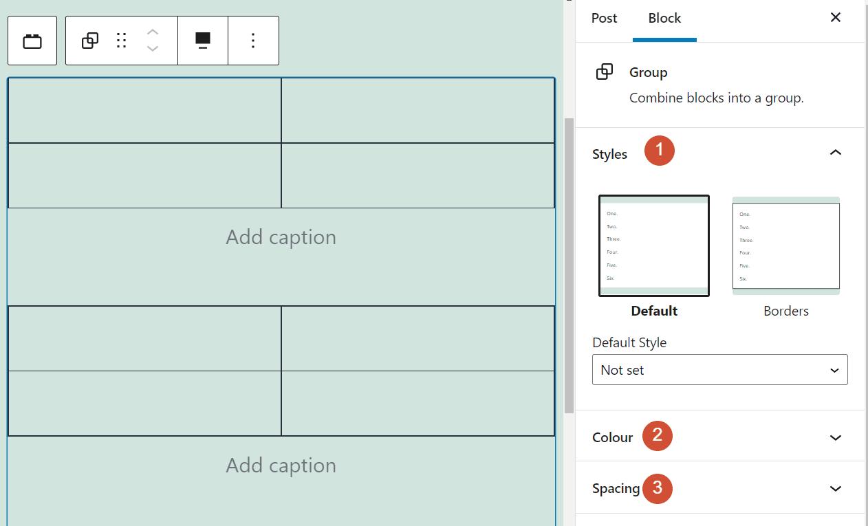 The Group block's settings