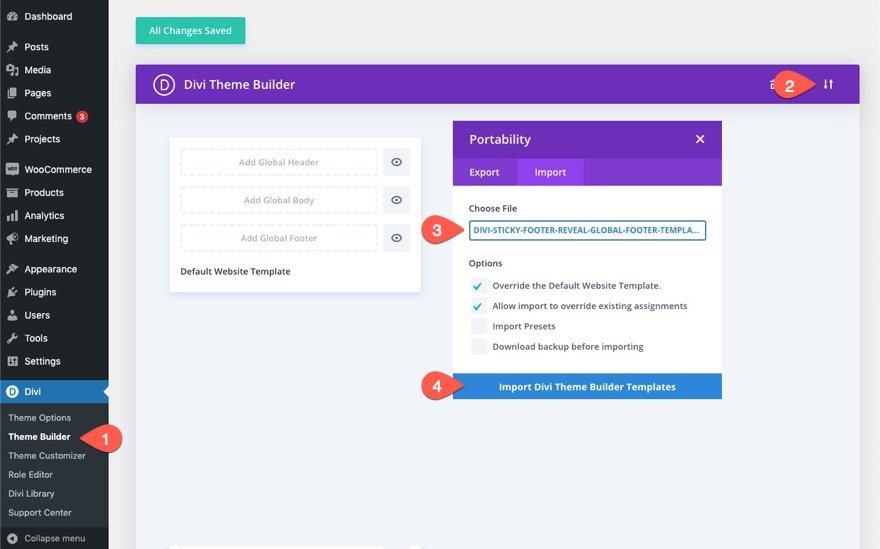 divi sticky footer reveal