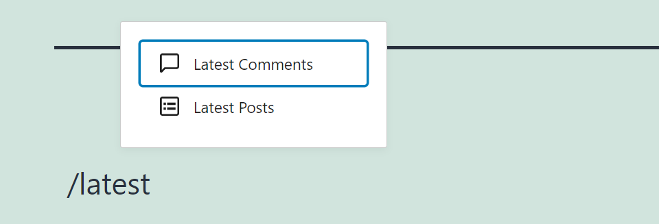 Adding the Latest Comments block manually