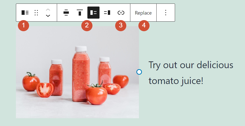The formatting toolbar for the Media and Text block
