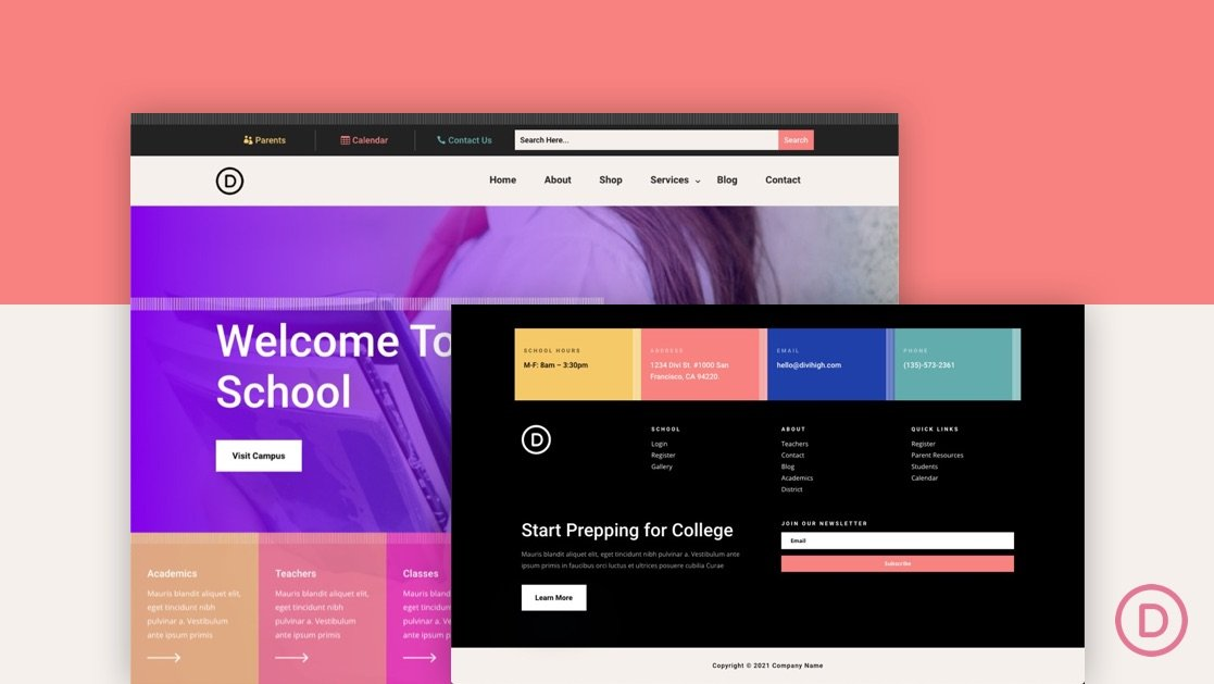Download a FREE Header and Footer Template for Divi's High School Layout Pack