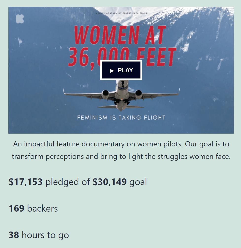 A Kickstarter campaign in WordPress