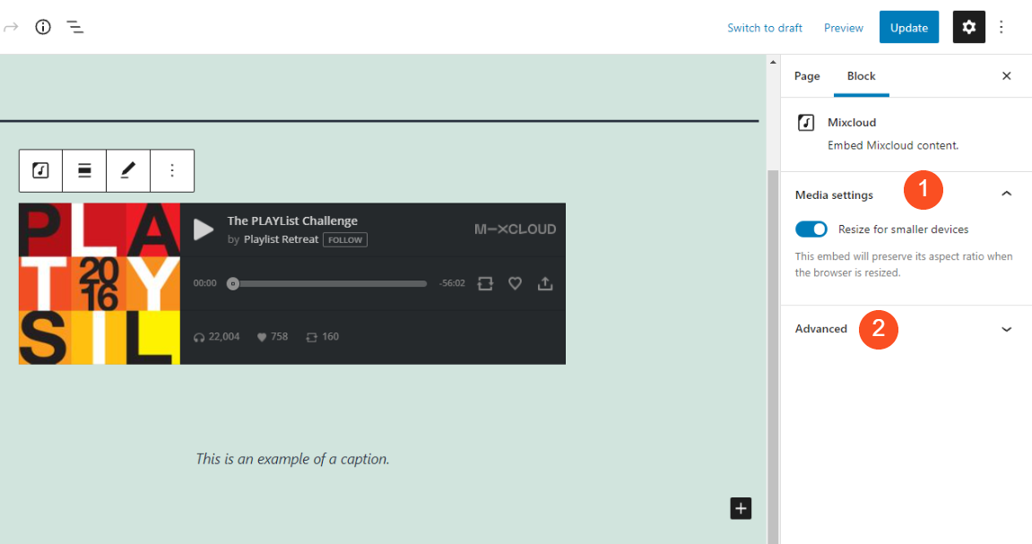 The additional block settings for Mixcloud.