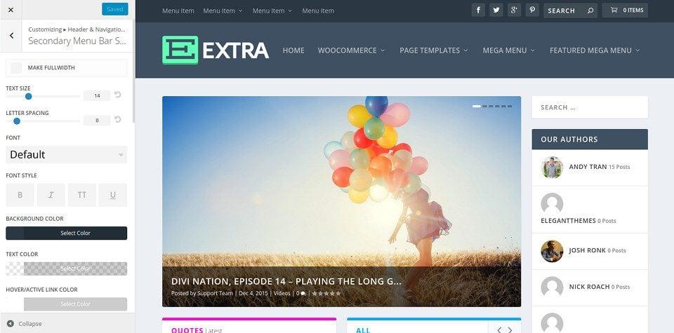 Les options de menu et navigation du thème Extra