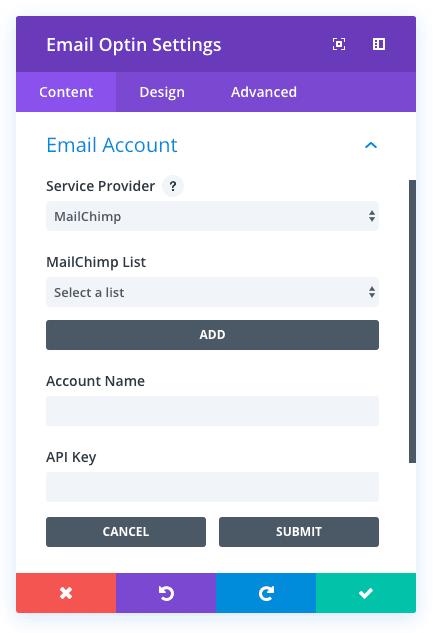 Le module email Optin de Divi