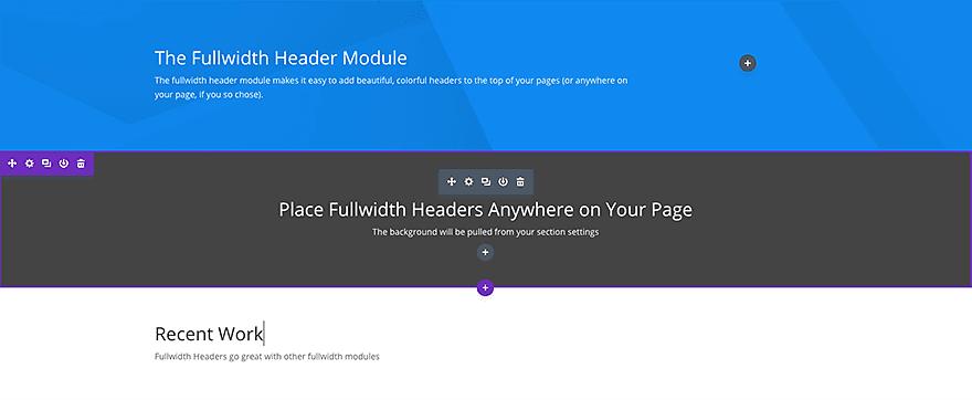 fullwidth header module