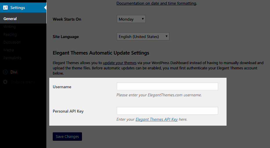 How to update your theme legacy elegant themes documentation - Api key divi ...
