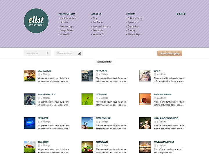 Elist directory wordpress theme for Free church photo directory template