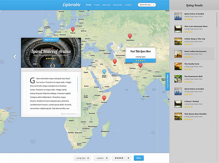 Explorable location wordpress theme filterable listings search gumiabroncs Choice Image