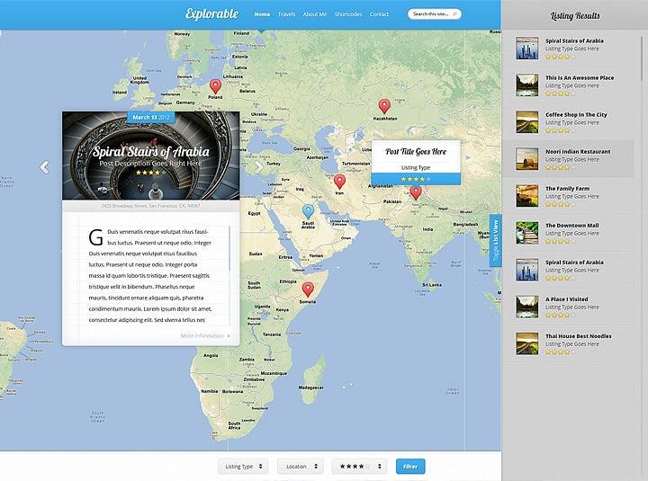 Explorable Location WordPress Theme